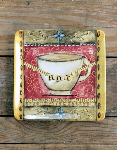 Hot Coffee Cup Ceramic Plate