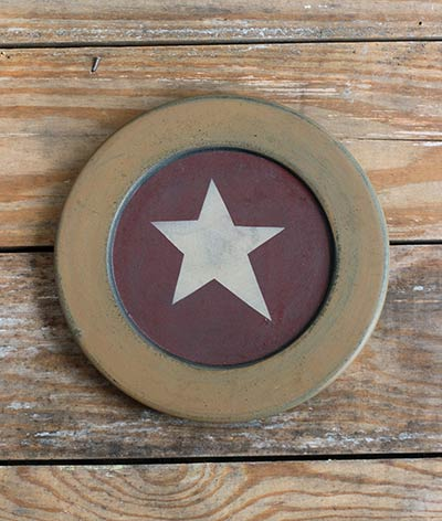 Mustard & Red Plate with Star - 8.5 inch
