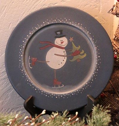 Skating Snowman Plate