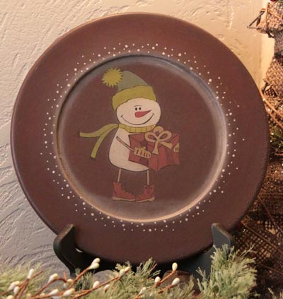 Snowman with Present Plate
