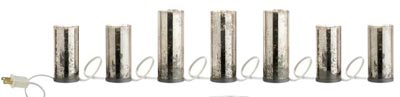 Antiqued Lighted Pillar Candle Strand - Silver