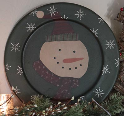 Snowman Plate with Snowflakes - Green