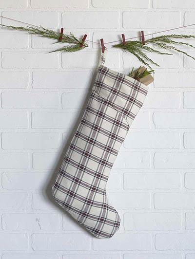Amory Plaid Christmas Stocking - Long