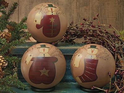 Snowman in Pockets Decorative Balls (Set of 3)