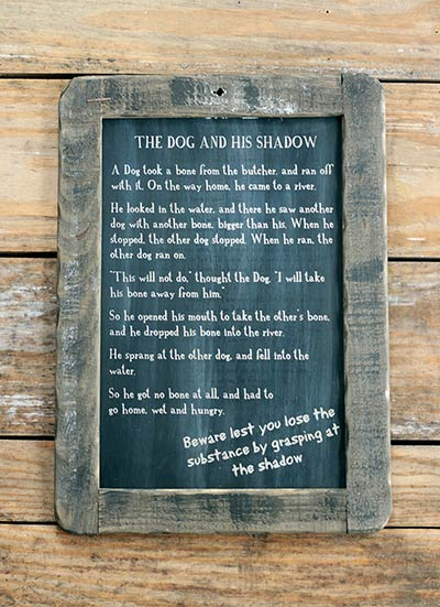 Dog and His Shadow Folk Tale Blackboard