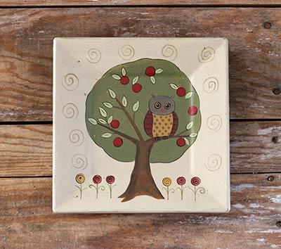 Owl in Apple Tree Plate