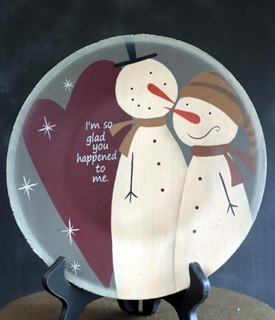 Snowman Love Plate - Glad You Happened