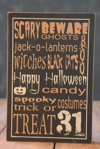 Happy Halloween Box Sign - Black