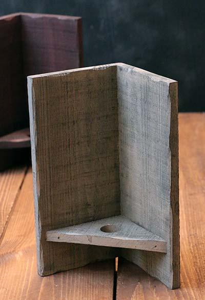 Wood Corner Candle Sconce - Antique Cream