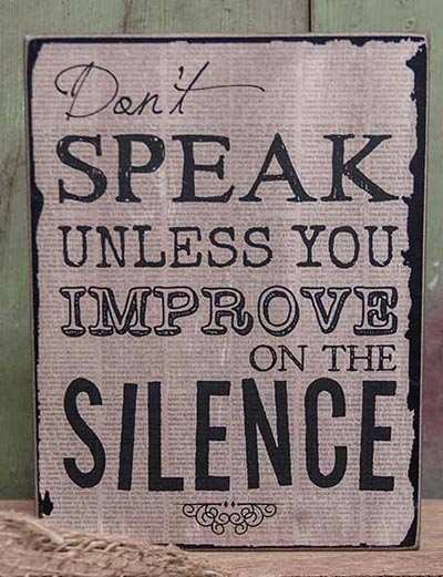Silence Vintage Standing Box Sign