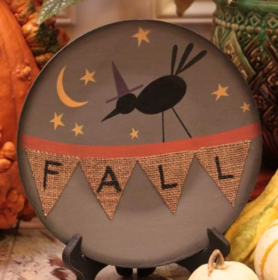 Fall Burlap Halloween Plate