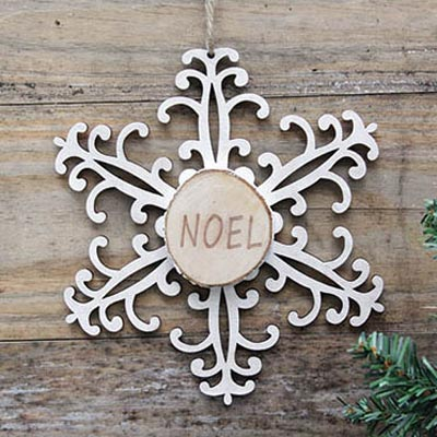 Snowflake Wood Slice Ornament - Noel