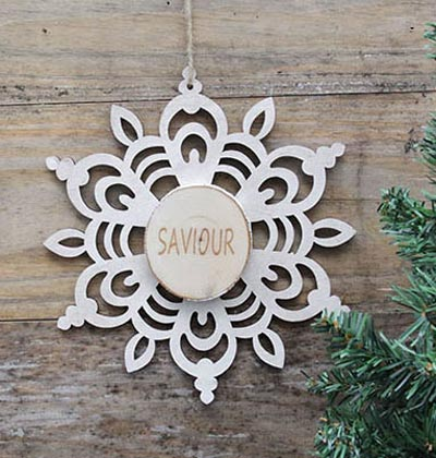 Snowflake Wood Slice Ornament - Saviour