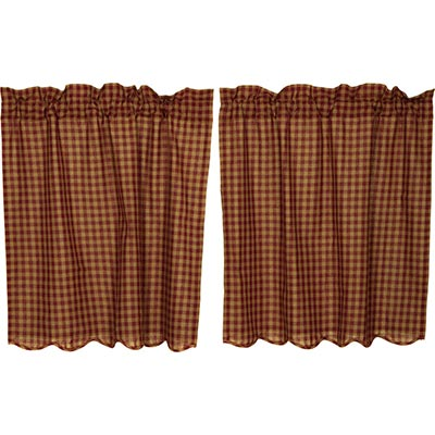 Burgundy Check Cafe Curtains - 36 inch Tiers