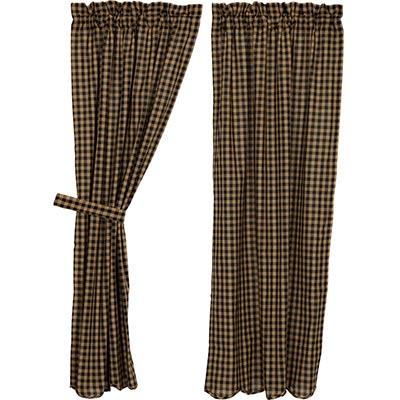 Black Check Panels - 63 inch (Black and Tan)