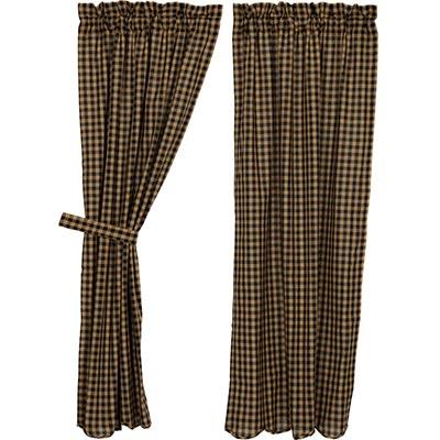 Black Check Panels - 63 inch (Black and Tan)