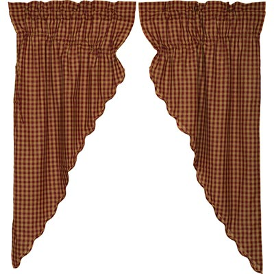 Burgundy Check Prairie Curtain (63 inch)