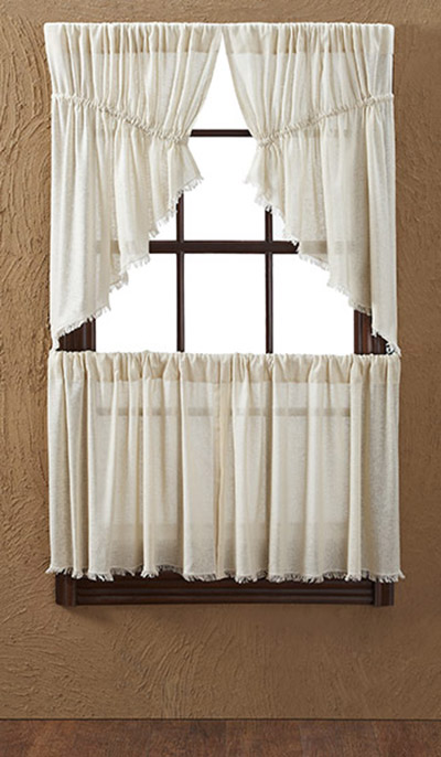 Tobacco Cloth Natural Cafe Curtains - 24 inch Tiers