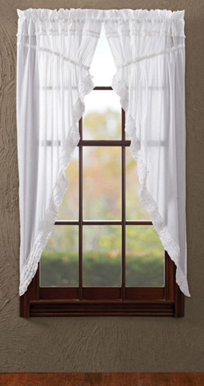 White Ruffled Sheer Prairie Curtain (63 inch)