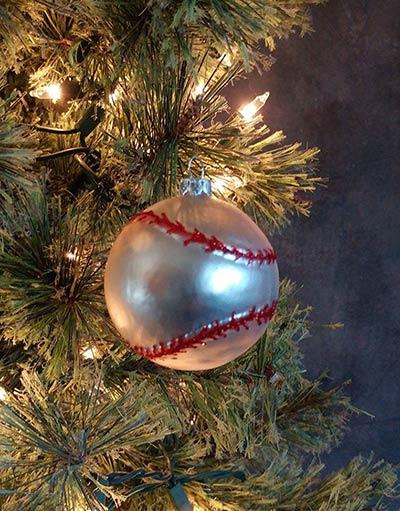 Glass Baseball Ornament