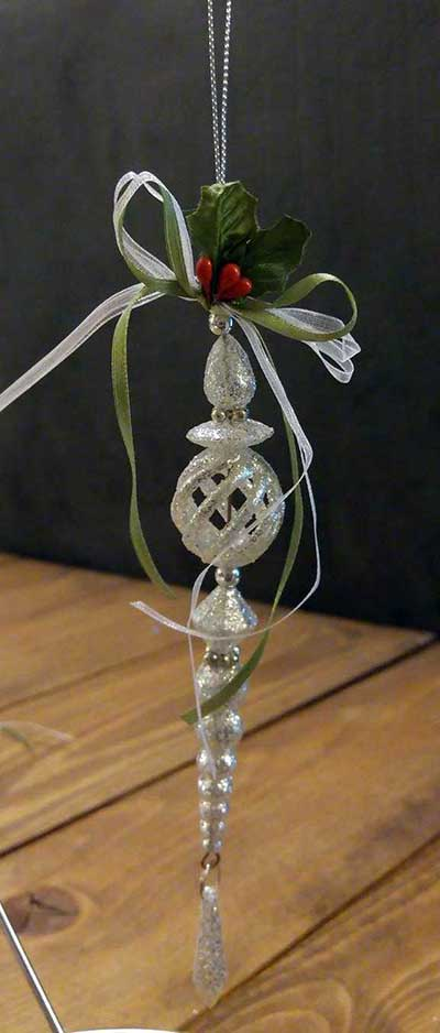 Silver Glittered Drop Ornament