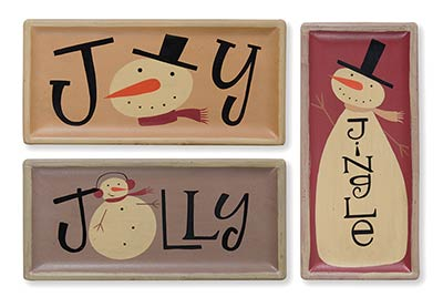 Jolly Jingle Joy Snowmen Trays (Set of 3)