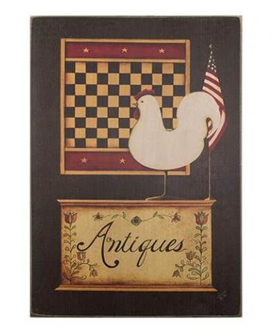 Antiques Sign with Checkerboard & Chicken