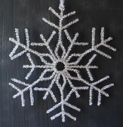 Large Beaded Snowflake Ornament or Door Hanger