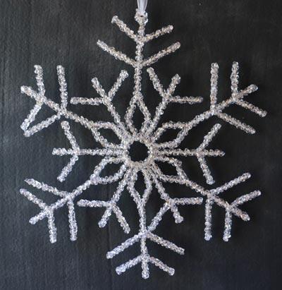 Large Beaded Snowflake Ornament or Door Hanger