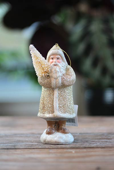 Champagne Santa Ornament with Tree