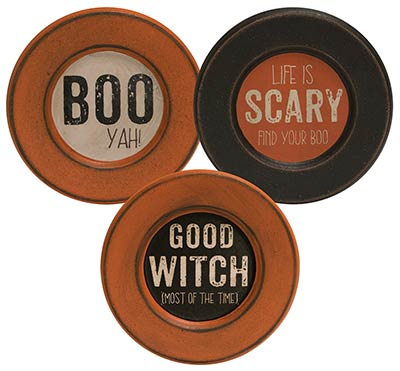 Boo, Scary, Good Witch Wood Plates (Set of 3)