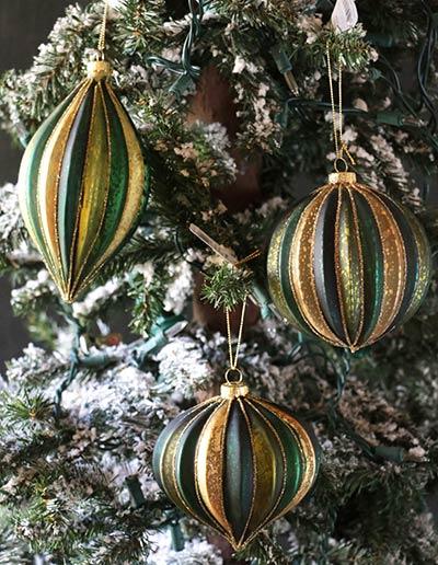 Pheasant Green & Gold Striped Ornament