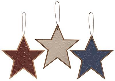 Rustic Patriotic Star Ornaments (Set of 3)