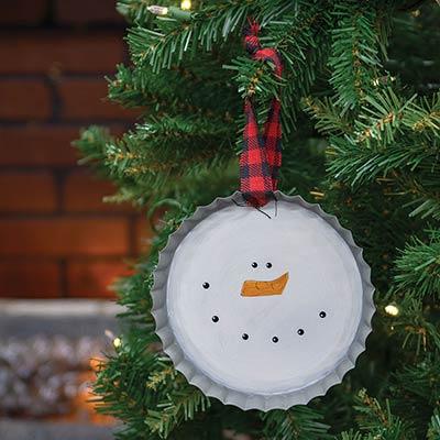 Snowman Face Bottlecap Ornament