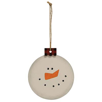 Snowman Ornament with Buffalo Check Cap
