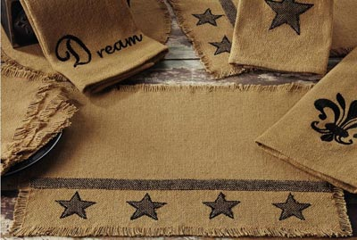 Burlap Table Runner with Black Stars - 54 inch