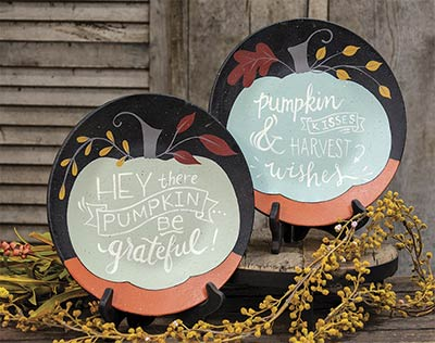 Be Grateful & Pumpkin Kisses Plates (Set of 2)