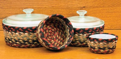 Burgundy and Mustard Braided Jute Baskets (Set of 4)