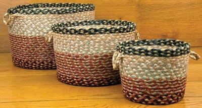 Burgundy, Grey, & Cream Utility Basket