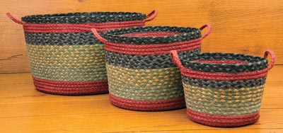 Burgundy, Olive and Charcoal Braided Utility Basket