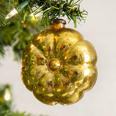 Gold Glass Flower Ornaments (Box of 4)