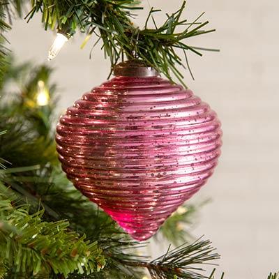 Pink Glass Teardrop Ornaments (Box of 4)