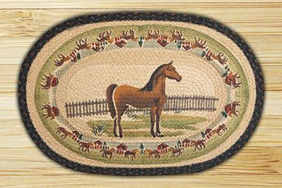 Large Horse Braided Jute Rug
