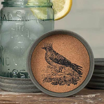 Bird and Crown Mason Jar Coasters (Set of 4)