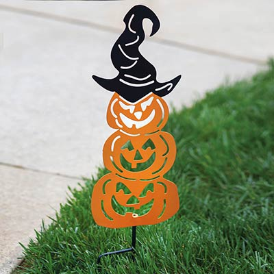 Pumpkin Stack with Witch Hat Garden Stake