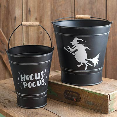 Black Witch Halloween Buckets (Set of 2)