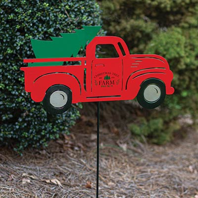 Red Truck with Tree Garden Stake