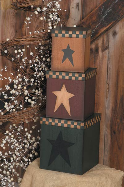Folk Star Stacking Boxes (Set of 3)