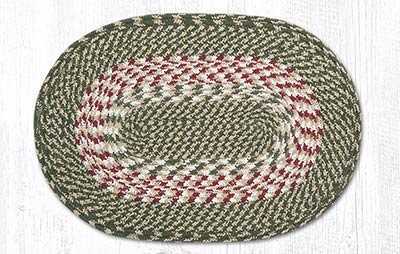 Green and Burgundy Cotton Braided Placemat - Oval