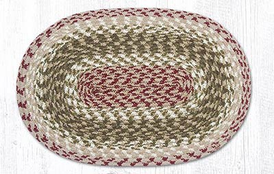 Olive, Burgundy, and Gray Cotton Braided Placemat - Oval